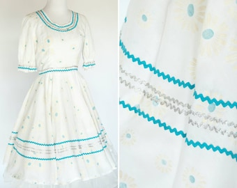 Vintage 1960's Square Dance Dress- Casual Blue and White Floral Dress- Full Skirt Cotton Summer Dress- Ladies Size Small