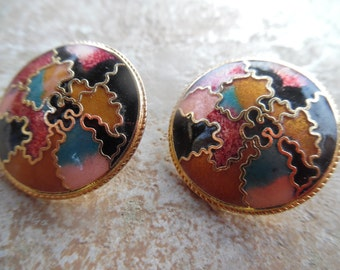 1 pair  of  vintage enamel like... round..really pretty   colorful earrings ... ..excellent condition