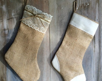 His & Hers-Set of 2 Stockings-Natural Burlap w/ Lace and Natural Burlap w/ Cream Patches-Christmas Stocking-Personalize with a Name-Rustic