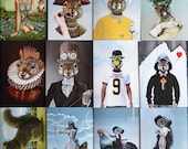 Package of twelve greeting (art) cards and envelopes: SUBSTITUTE THREE Animal Art
