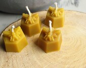 Beeswax Tea Light Candle - Honeycomb Bee Candle - Pure Beeswax Candle - Set of 4 Tea Lights