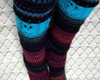 Night of owls -Long kneehigh Wool socks 'pöllöjen yö' Womens Girls hand knit Boot Multicolor Winter Big Warm Cosy Gift Handmade in FINLAND