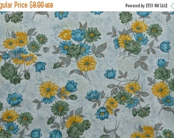 20% SALE Vintage Cotton Fabric Cotton Floral Fabric Teal Yellow Flowers Cotton Quilting Fabric - 1 1/8 Yard - CFL1407