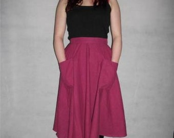 Vintage skirt swing rockabilly flared size 6 8 xs pink calf length pocketed