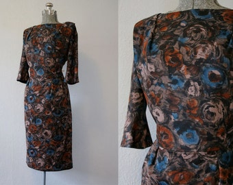 1960's Fall Floral Cocktail Dress / Size Medium