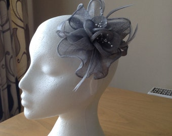 Silver Grey Gray Sinamay and Coq Feather Fascinator or Corsage with pearl sprays Races, Weddings, Prom, Cruise