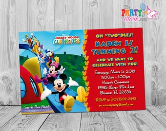 Mickey Mouse Clubhouse Invitations: Printable Personalized Birthday Party Invites Two Year Old, 2 Years, Oh Two-dles, Twodles. YOU PRINT