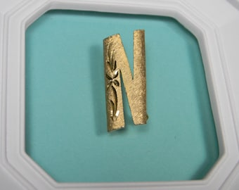 Gold Tone Letter N Brooch or Pin, Mamselle Classic Signed Vintage