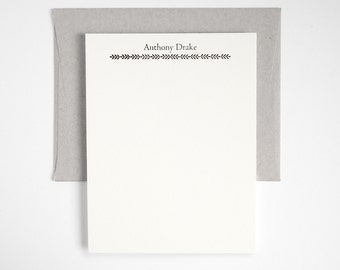 Letterpress Stationery Set - Personalized Flat Note Cards - Classic Style - Greenhouse