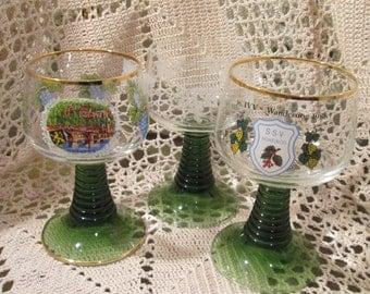 Lot of 3 Vintage German Wine Glasses/Goblets