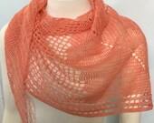 Coral Lace Fly Away Shawlette crocheted handmade wrap