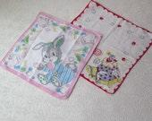 Child's Hankie Children's Cotton Handkerchief Scarves Bunny Rabbit Easter Clown Pink Red Retro Kid's Decor 1960s Stocking Stuffer