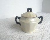 Vintage Ceramic White Luster Ware Sugar Bowl / Made in Czechoslovakia