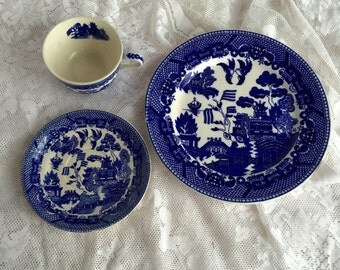 popular items for blue willow dishes on etsy