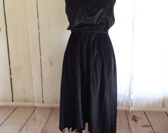 Vintage 70s Black Velvet Dress - Ryan Keith of California - Witchy Woman