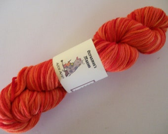 Alice Aran- 10 ply/Aran/Worsted 100% wool. Orange semi-solid