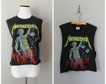 Metallica Upcycled T Shirt Justice For All 80s 90s Rock Band Tee Size M Medium Womens Cut Off Concert Music Tshirt Hipster Boho Festival Top