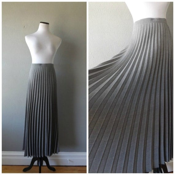 gray accordion pleat skirt vintage 90s maxi skirt floor length