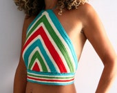 Chevron boho top, crochet halter top, crop top, crochet boho, festival wear, Naxos, in turquoise, green, red, ivory stripes, made to order