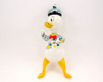 Vintage Italian Donald Duck Christmas Ornament Italian Figural Glass Christmas Decoration