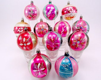 1950s Hand Painted Poland Christmas Ornaments Vintage Glass Holiday Ornaments, Boxed Set of 12