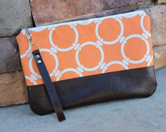 Large Clutch Wristlet Light Orange Circle Links (Nautical) Canvas with Dark Brown Faux Leather