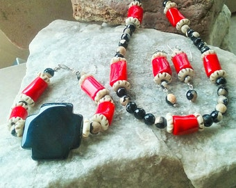 CLEARANCE /Neckace,Bracelet,Earrings,agate,bamboo coral,carved bone