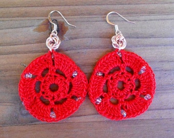 Crocheted Circular Chainmaille Earrings