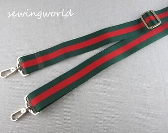 Adjustable Striped Bag Strap Green&Red