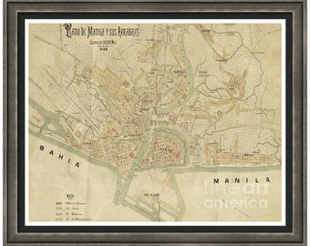 MAP of MANILA Philippines in a Vintage Grunge Weathered Antique style