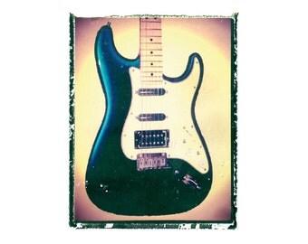 Blue Fender strat guitar art print / music gift / rock n roll art / music room decor / guitar gift / man cave art