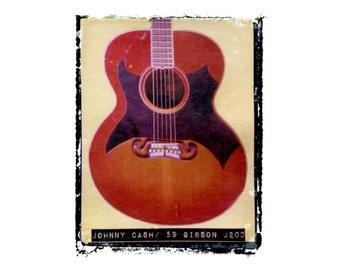 Johnny Cash guitar art print / music gift / rock n roll art / music room decor / guitar gift / man cave art