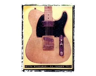 Keith Richards Rolling Stones Micawber guitar art print / music gift / rock n roll art / music room decor / guitar gift / man cave art