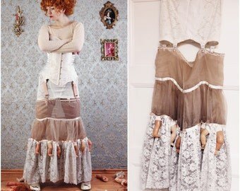 SALE! (was 169Eur) Dead doll FISHTAIL SKIRT garter belt doll parts lace floor length Size S