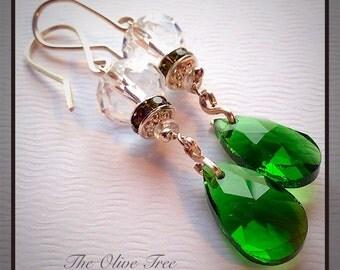 Emerald Green Faceted Teardrop Bohemian Dangle Earrings - Boho Earrings - Zen Earrings - Hippie Earrings - Gypsy Earrings - Meditation