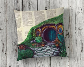 Decorative Pillow of Hobbiton, The Shire from The Lord of the Rings