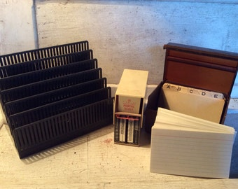 Vintage, Office Supplies, Postal Scale, Card File, Index Cards, Letter Organizer, Desk Supplies, Props, Industrial, All Vintage Man