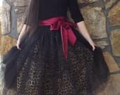 Theresa - Custom Handmade Ladies Womens Teens Leopard Black Tulle Tutu Skirt
