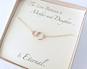 Mother Daughter Necklace , Mothers Day Jewelry, Gold Necklace,Eternity Necklace, Gold Necklace, Gift Box, Birthday Gift,  Gift for her,