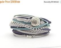 ON SALE Romantic gifts, Navy Gray Silver Boho Wrap Bracelet, Bohemian Jewelry, Gray Turquoise Hippie Gypsy Bracelet, gift for her, braided b