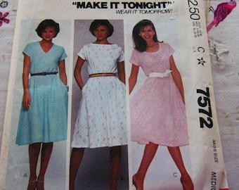 McCalls's 7572 Knit Dress Medium  Vintage 1981 Pattern