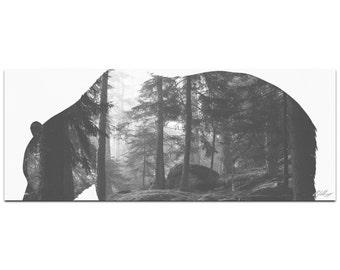 Grizzly Bear Forest | Contemporary Metal Animal Silhouette Art, Wildlife Artwork on Metal, Minimalist Bear Landscape, Modern Lodge Decor