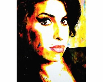 Pop Art 'Amy Winehouse A School of Thought' by Artist Mark Lewis, Amy Winehouse Painting Limited Edition Giclee Print on Metal/Acrylic