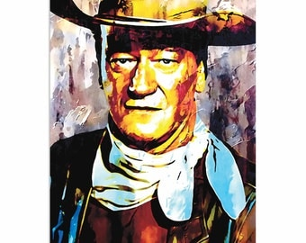 Pop Art 'John Wayne Gallant Duke' by Artist Mark Lewis, Colorful John Wayne Painting Limited Edition Giclee Print on Metal or Acrylic