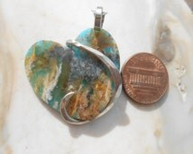 RESERVED! Kathy- Regency Plume Agate Turquoise Heart Silver Wrapped Pendant