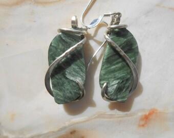 Seraphinite Silver Wrapped Earrings
