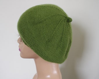 Pure Cashmere Grass  Green Spring Hand Knit Women Beret Cap Hat Size:Small