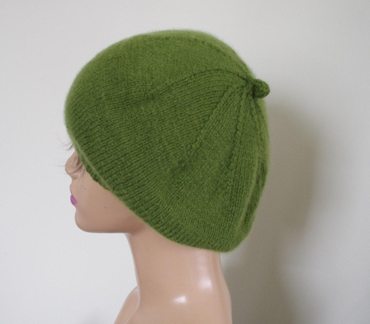 Cashmere Beret Knitting Pattern : Pure Cashmere Grass Green Spring Hand Knit Women Beret Cap