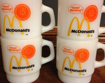 Set of 4 McDonald's 1970s Good Morning Coffee Mugs / Anchor Hocking Cups / Milk Glass Cups