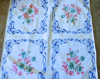 Vintage Floral Tablecloth or Table Topper